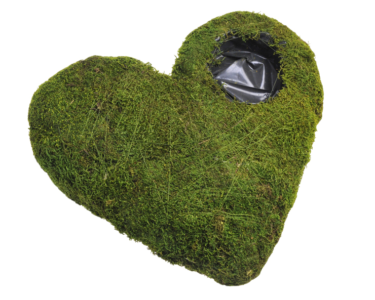 Flat moss heart with hole 40cm
